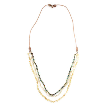 Three Strand Long Layered Beaded Gemstone Necklace Semi-Precious Stones