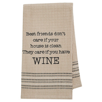 Funny Novelty Cotton Kitchen Dishtowel Best Friends and Wine