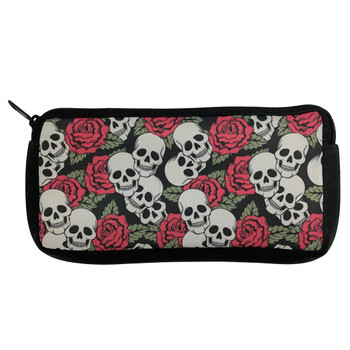 Skulls and Roses Neoprene Cosmetic Case Pencil Bag Stash Pouch