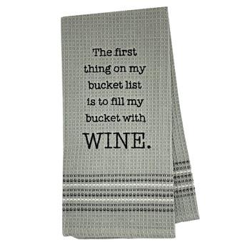 Funny Novelty Cotton Kitchen Dishtowel Wine Bucket List