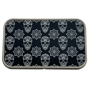 Black and White Sugar Skull Rectangle Metal Storage Tin Stash Box