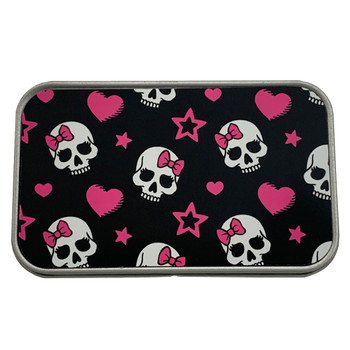 Girly Skull Pink Bow Rectangle Metal Storage Tin Stash Box