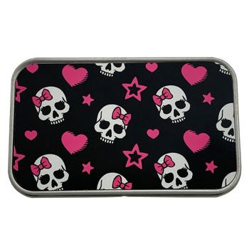 Girly Skull Pink Bow Rectangle Metal Storage Tin Stash Box
