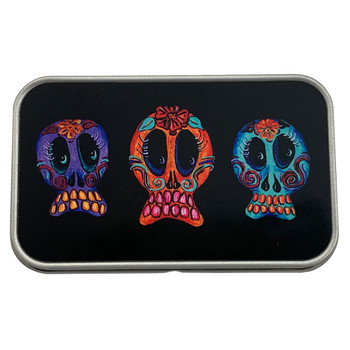 Trio of Sugar Skulls Rectangle Metal Storage Tin Stash Box