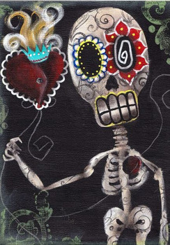 Take My Heart by Abril Andrade Fine Art Sugar Skull Skeleton