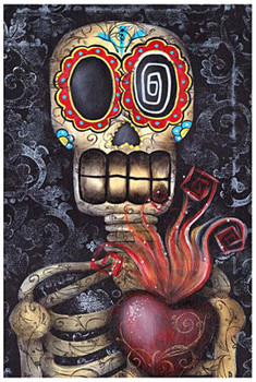 My Sacred Heart by Abril Andrade Fine Art Sugar Skull Skeleton