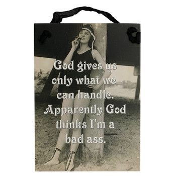 Gift For Her Novelty Vintage Print Funny Decorative Wood Hanging Sign Bad Ass