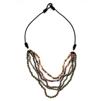 Short Layered Beaded Gemstone Necklace Semi-Precious Stones