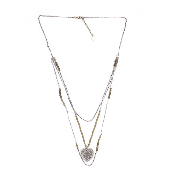 Long Silver Layered Beaded Gemstone  Necklace w/ Heart Pendant