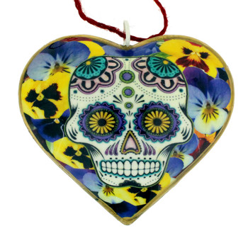 Day of the Dead with pansy flowers metal heart ornament.