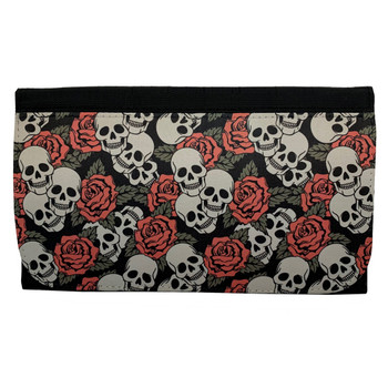 Small Print Skull and Roses Women's Wallet Black Poly Canvas