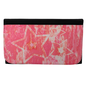 Pink Stars Women's Wallet Black Poly Canvas