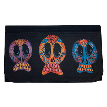 Trio of Sugar Skulls Women's Wallet Black Poly Canvas Clutch