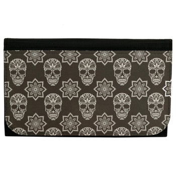 Black and White Sugar Skull Women's Wallet Black Poly Canvas Clutch