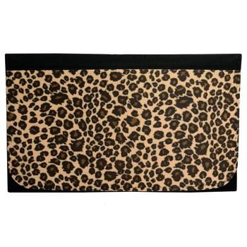 Leopard Animal Print Women's Wallet Black Poly Canvas Clutch