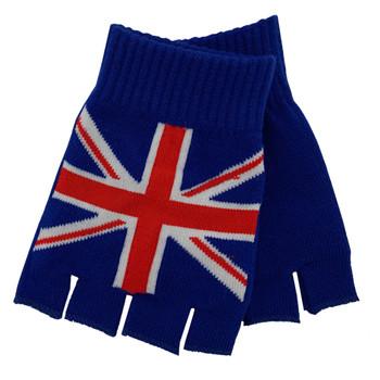 UK British Flag Knitted Fingerless Gloves