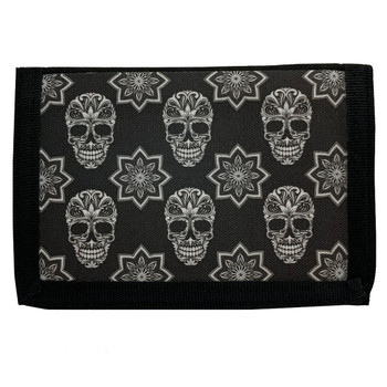 Black and White Sugar Skull Men's Wallet