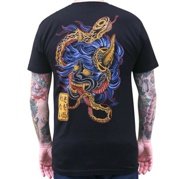 Scorned by Clark North Hannya Mask Men's Black Tee Shirt