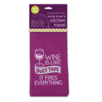 Wine Is Like Duct Tape It Fixes Everything is a whimsical, generously sized cotton kitchen or bar towel.  Great for all those wine lovers out there.