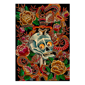 Scared Skull and Snakes by Brother Greg Canvas Giclee