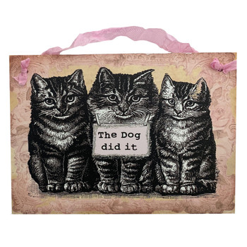 The Dog Did It Decorative Wood Hanging Sign
