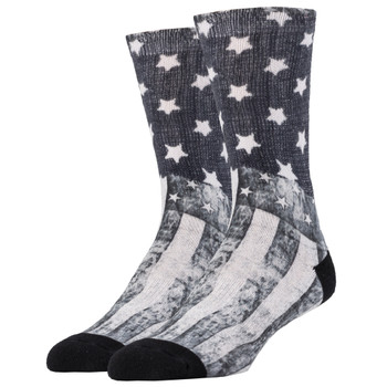 Men's Crew Socks Black and White American Flag