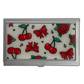 Rockabilly Red Bows and Cherries Business Card Case