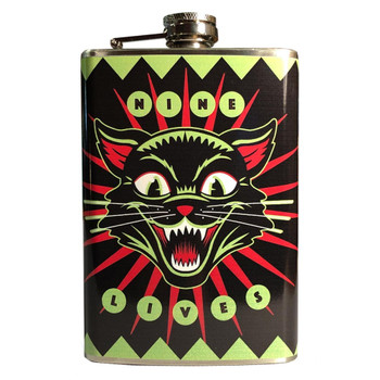 Nine Lives Stainless Steel Flask