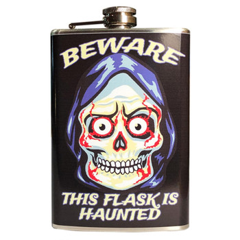 Beware Haunted Skull Stainless Steel Flask