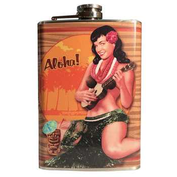 Bettie Page Aloha Tiki Pin Up Girl Stainless Steel Flask