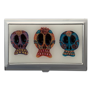 Trio of Sugar Skulls ID Holder Business Card Case
