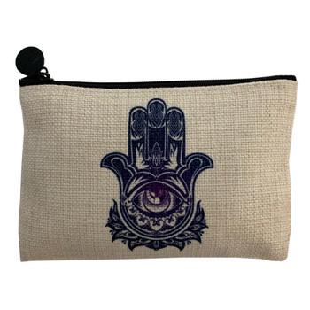Third Eye Hamsa Hand Coin Purse Small Cosmetic Bag