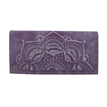Genuine Leather Mandala Wallet Lavender Purple