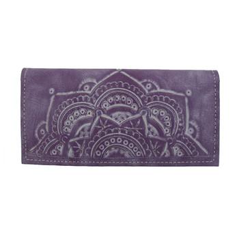 Genuine Leather Mandala Wallet Lavender Purple