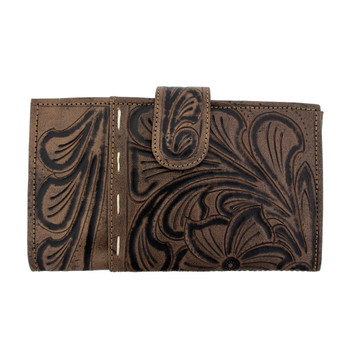 Front side of mushroom brown leather wallet cell phone case.