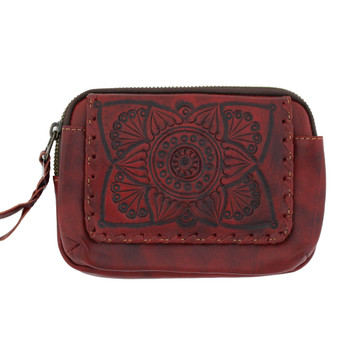 Front side of red leather wallet with belt loop.
