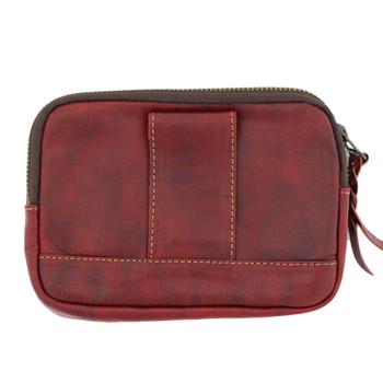 Backside of red leather wallet with belt loop.