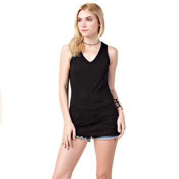 Vocal Apparel Laser Cut Black Tank Top