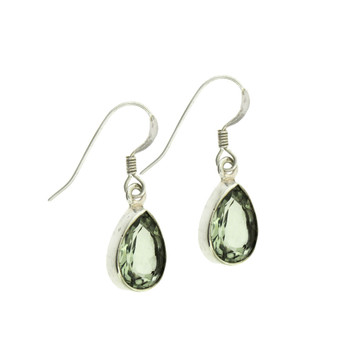 Faceted green Quartz sterling silver earrings.
