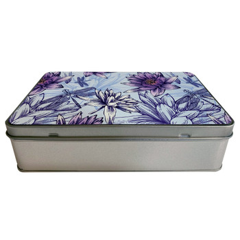 Dragonfly and Water Lilies Metal Tin Box