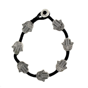 Seven Hamsa beaded silver alloy bracelet made with waxed linen.
