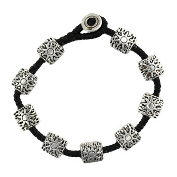 Square alloy silver beaded wax linen bracelet with sun design on the beads.