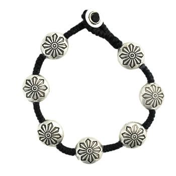 Round flower design silver alloy beaded bracelet.