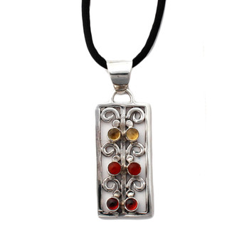 Citrine, Carnelian and Garnet sterling silver pendant with black nylon necklace.