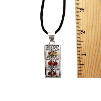 The size of the Citrine, Carnelian and Garnet silver pendant necklace.