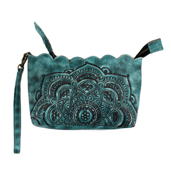Mandala Wristlet Pouch Wallet Aqua Green
