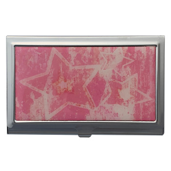 Pink Abstract Stars Business Card Case