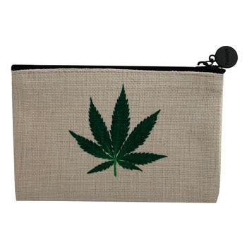 Green Pot Leaf Linen Cosmetic Bag