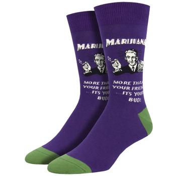 Men's Purple Crew Socks Best Buds