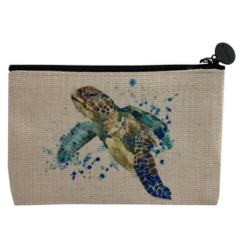 Sea Turtle Linen Small Zippered Coin Bag